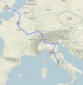 London To Rome Lake Arbor Travel