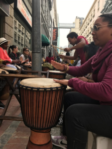 Drum Party outside of the Touareg Trading African Jewellery and Bags Store south africa lake arbor travel