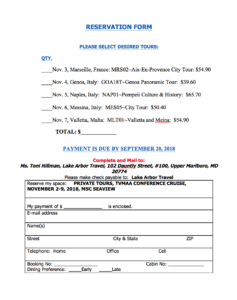 TVMAA Reservation form