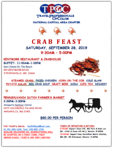 travel professionals of color crab feast flyer 2019 lake arbor travel
