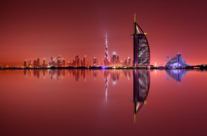 DUBAI, UAE - Dubai skyline reflection at amazing night, Dubai, United Arab Emirates